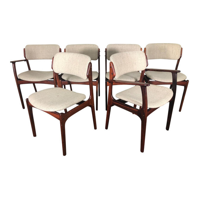 Set of 6 Mid Century Modern Danish Rosewood Dining Chairs by Erik Buch Buck by RetroPassion21
