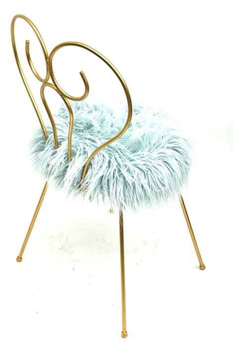 Mid-Century Hollywood Regency Heart Shaped Gold Metal & Light Blue Mongolian Faux Fur Vanity Chair || Glam Boudoir Stool by ELECTRICmarigold