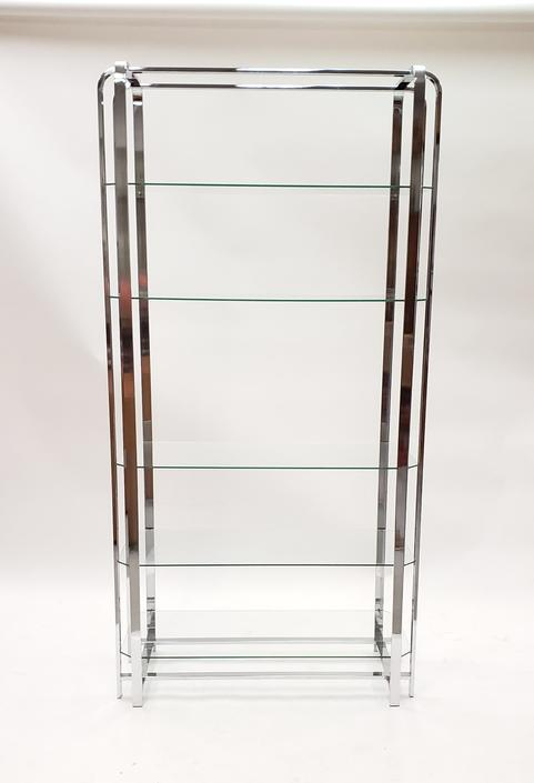 Mid-century Modern Chrome and Glass Shelf in the Style of Milo Baughman