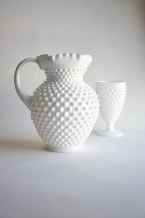 Milk Glass Hobnail Fenton Pitcher Vase | Juice Lemonade Iced Coffee Mimosa Pitcher | Vintage Country Farm Wedding Centerpiece | Floral Ewer by LostandFoundHandwrks