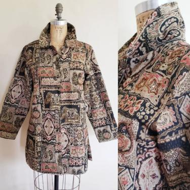 1990s Tapestry Weave Jacket Beaded  Indian Elephant Print / 90s Button Down Short Coat Maximalist Boho Metallic Paisley Chico's /Alizee / M by RareJuleVintage