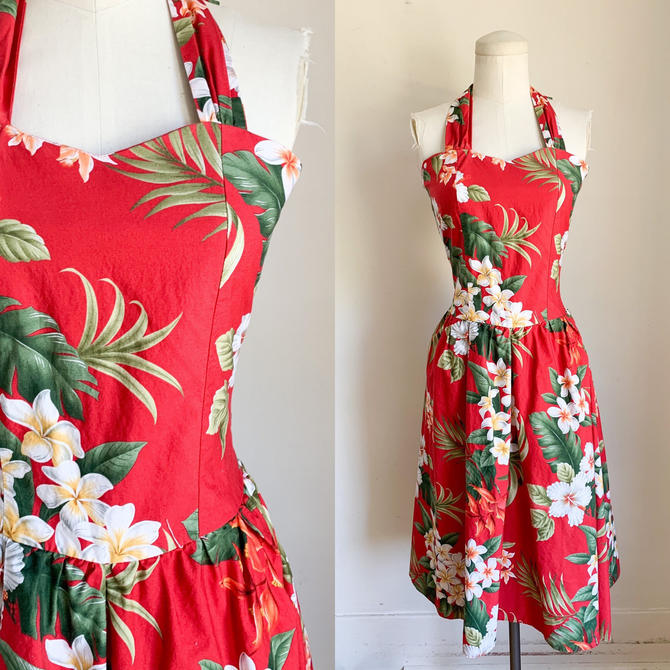Vintage 1990s Red Hawaiian Sundress / S by MsTips