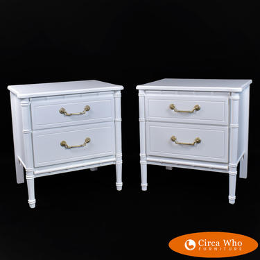 Pair of Faux Bamboo White Nightstands