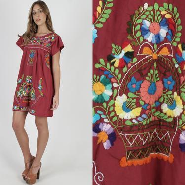 Burnt Sienna Mexican Dress Puff Sleeve Fiesta Dress Ethnic Maroon Bright Floral Boho Womens Puebla Cotton Mini Dress by americanarchive