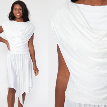 70s White Dress Disco Party Grecian 70s Draped Dress Boho Midi Low Waist Vintage Cowl Neck Low Back Formal Bohemian Drape Extra Small xs by ShopExile