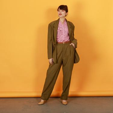 80s Olive Green Silk Matching Suit Vintage Long Sleeve Blazer Suit by AppleBranchesVintage