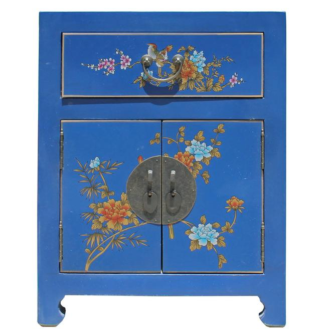 Chinese Bright Blue Vinyl Moon Face End Table Nightstand cs5126S
