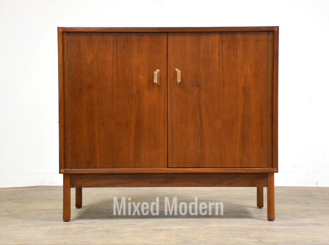 Small Refinished Walnut Cabinet Credenza by mixedmodern1