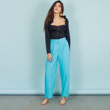 80s Bright Blue Petite Trousers Vintage Aqua Pastel Straight Pants by AppleBranchesVintage