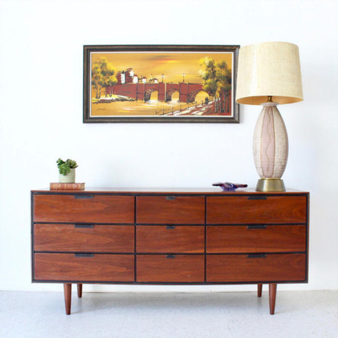 Sleek Vintage Walnut 9 Drawer Dresser