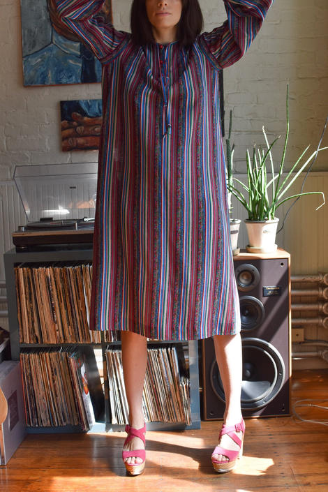 Vintage 1980's Ungaro Striped Peasant Dress by LadyofLizard