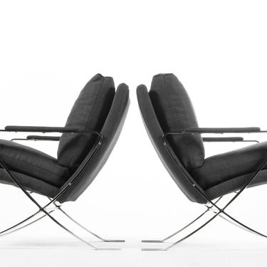 Set of Two Chrome Lounge Chairs by Bernhardt in Navy Upholstery, USA by ABTModern