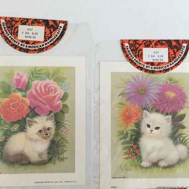 Vintage Dog and Cat Prints K Chin Lithographs Set of Four Litho 1973 1970s Puppy Kitten USA Kitsch Retro Decor Nursery Illustration Print by CheckEngineVintage
