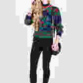 Vintage 1980s Diane Von Furstenberg Print Sweater by UnfadedEra