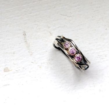 Pink Sapphire Trip Stone Nest Ring in 14k yellow gold and sterling silver handmade one of a kind band by RachelPfefferDesigns