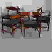 Set of 6 (2 Arm + 4 Side) Danish Teak Sculpted Back Dining Chairs