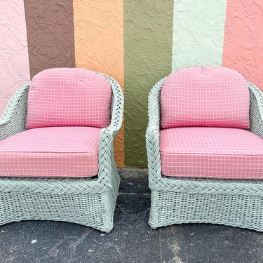 Pair of Preppy Braided Rattan Lounge Chairs