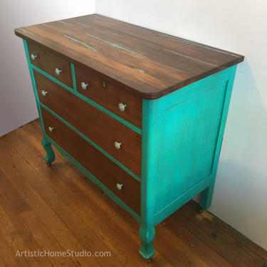 Rustic Teal & Wood Dresser with Turquoise Inlay