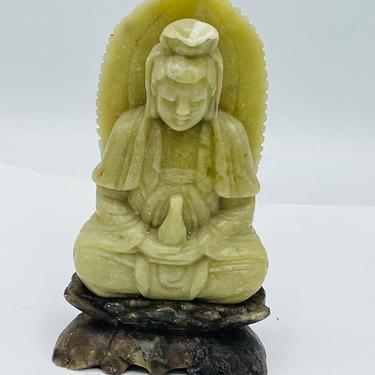 Antique Buddha Chinese Statue Kwan-yin Soapstone Quan Yin Sitting on Lotus Guan Yin Rare by JoAnntiques