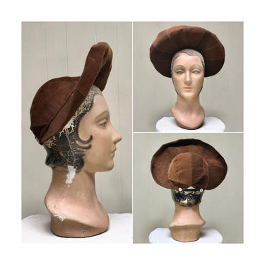 Vintage 1930s Hat, 30s Brown Corduroy Wide Brim Bonnet by RanchQueenVintage