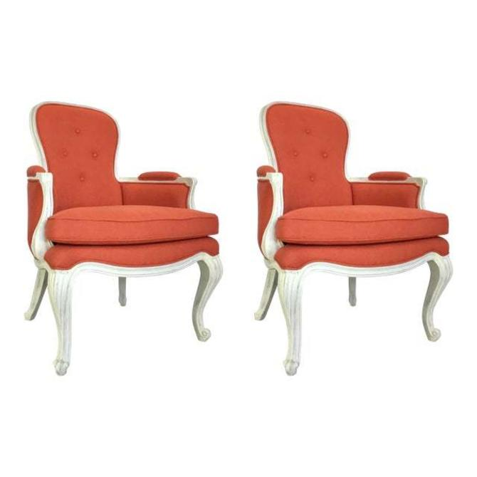 John Richard Modern Coral and White Pompadour Bergere Chairs Pair