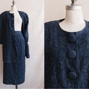 Vintage 80s Carmen Marc Valvo Linen Soutache Suit/ 1980s Navy Blue Jacket and Skirt Set/ Broad Shoulder/ Size Large by bottleofbread