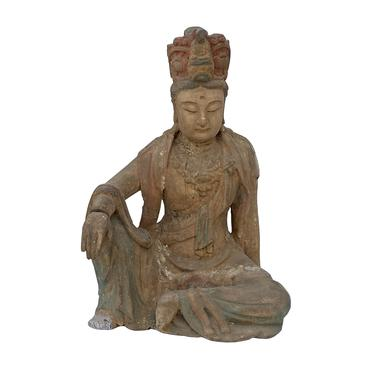 Chinese Rustic Distressed Finish Wood Kwan Yin Avalokiteśvara Statue ws1609E by GoldenLotusAntiques