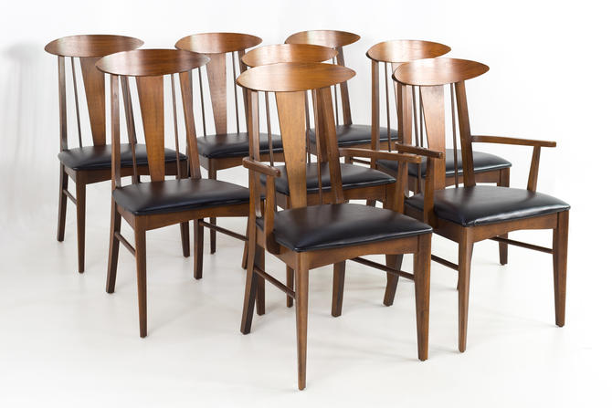 Garrison Cats Eye Mid Century Walnut and Vinyl Dining Chairs - Set of 8 - mcm by ModernHill
