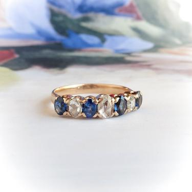 Antique Victorian Oval Sapphire and Rose Cut Diamond Stacking Weddig Band 18k by YourJewelryFinder