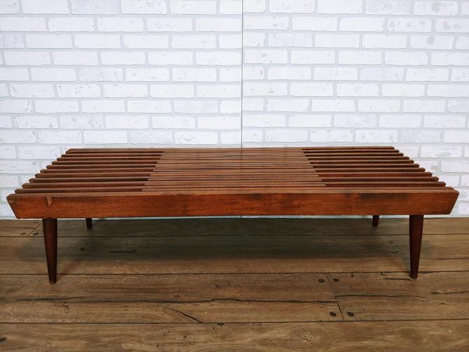 Mid Century Modern Teak Expanding Slat Bench/Coffee Table by RedsRustyRelics