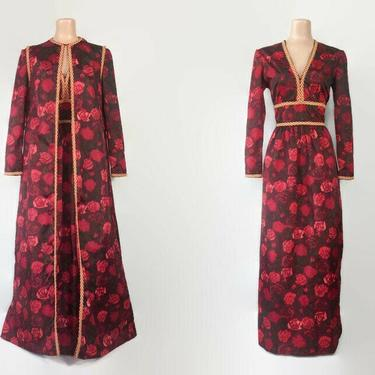 VINTAGE 60s Deep Red Rose Print Taffeta Maxi Dress and Duster Vest Set | 1960s Hostess Gown & Jacket Outfit | 70s Grecian Style Party Dress by IntrigueU4Ever