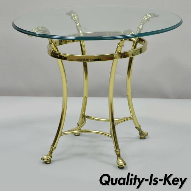 Vintage Brass and Oval Glass Labarge Style Accent Side Table