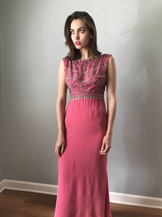 Vintage 60s Pink Beaded Jackie O Gown by SpeakVintageDC