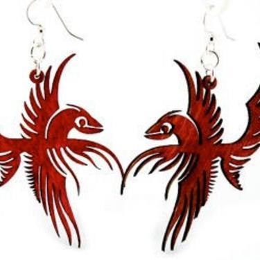 Flying Phoenix Earrings - Laser Cut Wood Earrings by GreenTreeJewelry