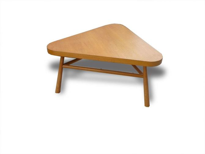 MidCentury Robsjohn Gibbings Triangle Coffee Table Blonde Finish - Mid century triangle coffee table