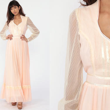 Gunne Sax Dress 70s Baby Pink Maxi Dress Lace Up CORSET 1970s Bohemian Wedding Puff Sleeve Boho Bridal Collection Hippie Prairie Long Small by ShopExile