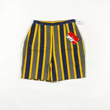 1960s Deadstock Printed Shorts / Stripes and Polka Dots / Blue and Yellow / Novelty Print / Mod / Hippie / Boho / Metal Zipper / 70s / M / by shoptrashdotnet