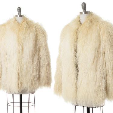 Vintage 1970s Coat   70s Shaggy Mongolian Tibetan Lamb Real Fur Cream Oversized Jacket (medium/large) by BirthdayLifeVintage