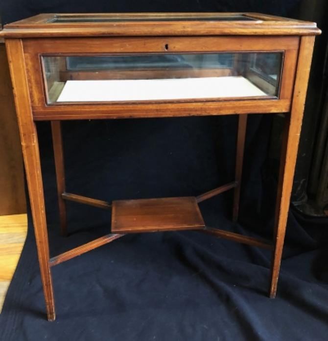 Circa 1900 Mahogany Hepplewhite Vitrine Table Display Table With Bottom Shelf