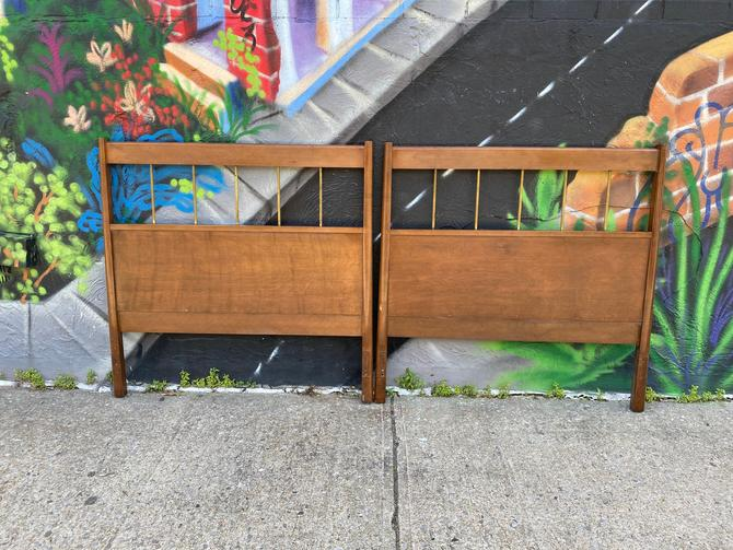 Vintage midcentury rare Pair of Paul Mccobb Twin bed headboards brass maple walnut finish by symmetrymodern