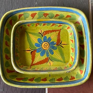 Vintage Green Mexican Pottery Trays by Walkingtan