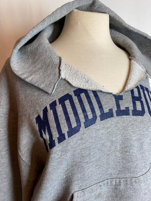 90's Vintage distressed hoodie~ heathered gray sweatshirt~ unisex androgynous sportswear~ Middlebury novelty Vermont~ size small by HattiesVintagePDX