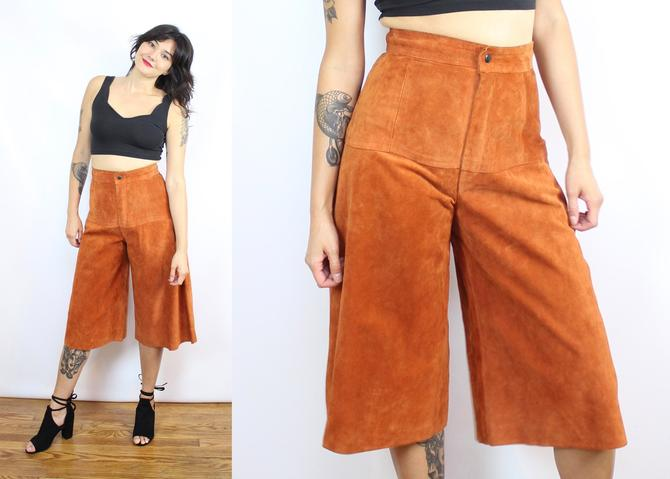"""Vintage 70's Caramel Suede Culottes / 1970's Wide Leg Leather Culottes / High Waisted / Women's Size Medium / 28"""" Waist by RubyThreadsVintage"""