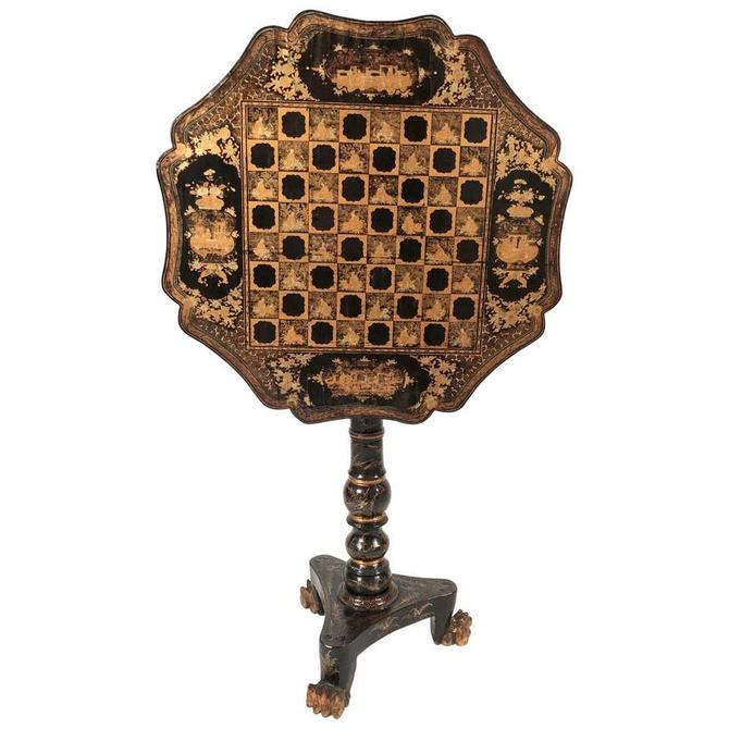 Chinese Export Black Lacquered and Penwork Gilt Games Table, circa 1810