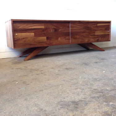 Solid Walnut Mid Century Low Divisadero Media Storage Console Record Storage by jeremiahcollection