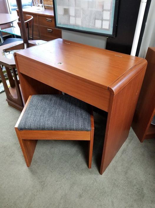 Danish Modern flip top teak vanity with stool
