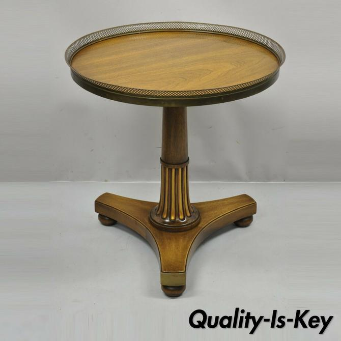 Vtg French Empire Mahogany Pedestal Base Round Accent Center Table Brass Gallery