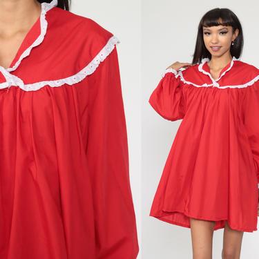 70s Mini Dress Red Trapeze Dress Boho Dress 1970s Vintage Tent Dress Eyelet Lace Bohemian Balloon Sleeve Hippie Dress Extra Large xl by ShopExile