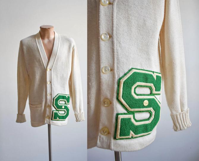 1960s Varsity Letterman Cardigan Sweater by milkandice