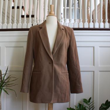 Vintage 90s Camel Colored Neutral Brown Wool & Cashmere Blend Long Menswear Blazer Women's Size S M by NeonSkyVintageMN